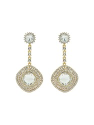 Mikey Square Crystal Studded Drop Earring