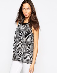 Vero Moda Sleeveless Animal Print Top With Ribbed Neckline Multi