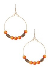 Alex And Ani Watercolor Beaded Wire Hoop Drop Earrings No Color