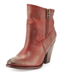 Frye Angela Leather Short Boot Red