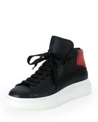 Alexander Mcqueen Leather High Top Sneaker With Red Backing Black