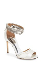 Badgley Mischka Women's 'Gazelle' Ankle Strap Sandal White Satin