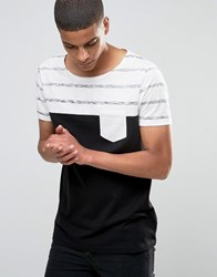 Asos T Shirt In Mini Stripe With Boat Neck Ecru Black