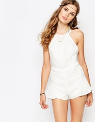 The Stone Cold Fox Noah Striped Linen Playsuit In White
