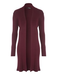 Jane Norman Black Mid Length Ribbed Cardigan Plum