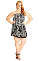 Plus Size Women's City Chic 'Festival Days' Print Strapless Romper