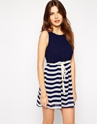Club L Nautical Stripe Dress With Rope Belt Navystripe