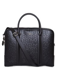 Givenchy Star Logo Embossed Leather Briefcase Black