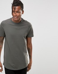 Selected Curved Longline Pique T Shirt Grey