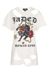 Jaded London Oversized Ripped Rock Tee By White
