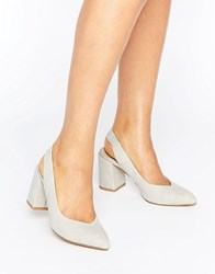 London Rebel Slingback Mid Heel Shoes Grey