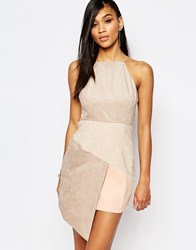 Rare London High Neck Suedette Dress With Assymmetric Hem Beige