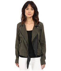 Blank Nyc Utility Jacket With Black Vegan Leather Detail Olive Green Women's Jacket