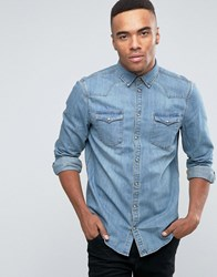 New Look Denim Western Shirt In Blue In Regular Fit Mid Blue