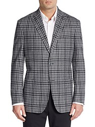 Ike Behar Plaid Wool Cotton And Cashmere Blazer Grey Blue