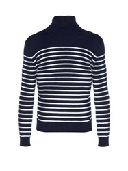 Saint Laurent Striped Roll Neck Cashmere Sweater Navy Multi