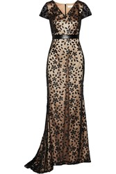 Mikael Aghal Faux Leather Appliqued Tulle Gown Black
