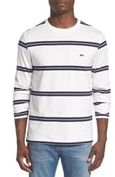 Lacoste Men's Stripe Long Sleeve Crewneck T Shirt