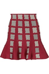 Issa Maisie Printed Stretch Jacquard Mini Skirt Red