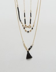 Ashiana Multi Layered Necklace With Tassle Detail Gold Black