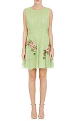 Alberta Ferretti Floral Appliqued Pleated Mesh Dress Multi Size 42 It