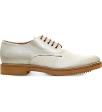 Dries Van Noten Lace Up Metallic Leather Oxford Shoes Winter Wht