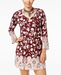 American Rag Printed Peasant Fit And Flare Dress Only At Macy's Red Multi
