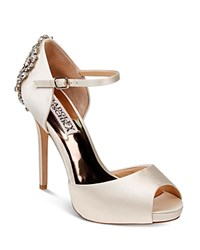 Badgley Mischka Dawn Embellished Satin Ankle Strap High Heel Pumps Ivory