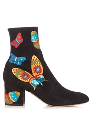 Valentino Butterfly Applique Suede Ankle Boots Black Multi
