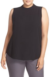 Eileen Fisher Plus Size Women's Silk Crepe Georgette High Neck Sleeveless Blouse Black