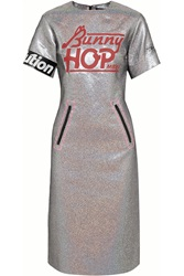 Marc By Marc Jacobs Printed Holographic Crepe Dress Metallic