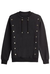 Balmain Embellished Cotton Sweatshirt Black