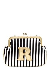 Melie Bianco Striped Initial Pouch R Multi