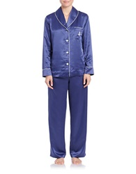 Lauren Ralph Lauren Shawl Collar Satin Pajama Set Navy