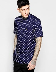 Fred Perry Shirt With Polka Dot Print Short Sleeves In Slim Fit Rich Navy