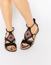 Bronx Bead Leather Flat Sandals Black Leather