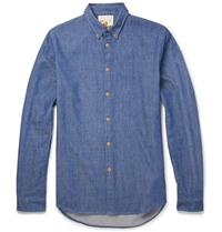 Folk Cotton And Wool Blend Chambray Shirt Blue