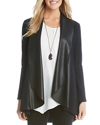 Karen Kane Draped Faux Leather Lapel Cardigan Black