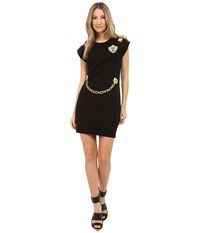 Love Moschino Dress With Gold Chain Lock Graphics Black
