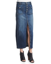 7 For All Mankind Slim Fit Denim Midi Skirt Blue