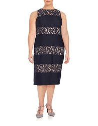 London Times Plus Lace Accented Sheath Dress Navy Nude