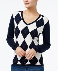 Tommy Hilfiger Ivy V Neck Argyle Sweater Only At Macy's Masters Navy