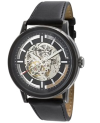 Kenneth Cole New York Watch Men's Automatic Skeleton Dial Black Leather Strap Kc1632