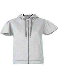 Red Valentino Cropped Zip Up Hoodie Grey