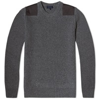 Lanvin Beaded Rib Crew Knit Mid Grey