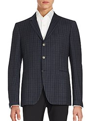 John Varvatos Austin Fit Plaid Virgin Wool Sportcoat Cobalt