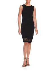 French Connection Lace Trimmed Knit Sheath Dress Black