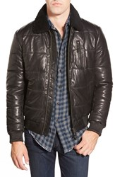 Men's Rodd And Gunn 'Alport' Quilted Leather Jacket With Genuine Shearling Collar