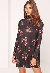 Missguided Roll Neck Long Sleeve Jersey Swing Dress Floral Brown Multi