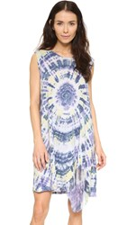 Raquel Allegra Sleeveless Bell Dress Violet Tie Dye